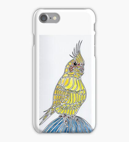 Lutino Cockatiel On Denim Knee iPhone Case/Skin