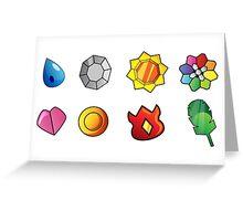 Pokemon Gym Badges Greeting Card