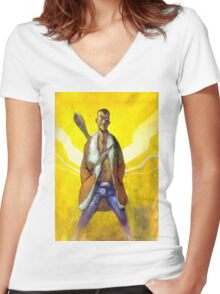 "Columbo ""We Know Who You Are"" artwork - R Women's Fitted V-Neck T-Shirt"
