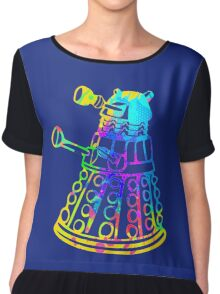Colorful Splatter Paint Dalek Chiffon Top