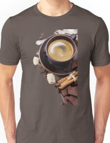 Coffee cup and beans on a white background. Unisex T-Shirt