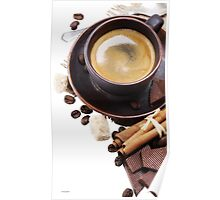 Coffee cup and beans on a white background. Poster