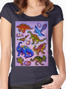 Several colorful dinosaurs Women's Fitted Scoop T-Shirt