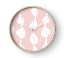 Abstract doodle stripe pattern in pink and white Clock