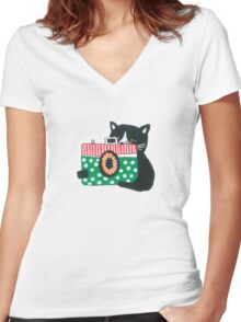 Photographer Cat Women's Fitted V-Neck T-Shirt