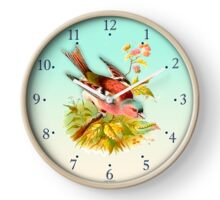 022 Wall Clock Colorful bird on a trunk with flowers Clock