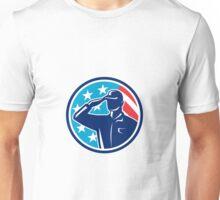 American Soldier Serviceman Saluting Flag Circle Retro Unisex T-Shirt