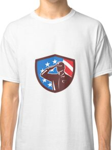 American Soldier Saluting USA Flag Crest Retro Classic T-Shirt