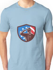 American Soldier Saluting USA Flag Crest Retro Unisex T-Shirt