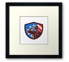 American Soldier Saluting USA Flag Crest Retro Framed Print