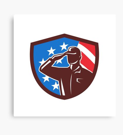 American Soldier Saluting USA Flag Crest Retro Canvas Print