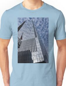 Silver and Blue - Glass Skyscrapers and Cloud Puffs Unisex T-Shirt