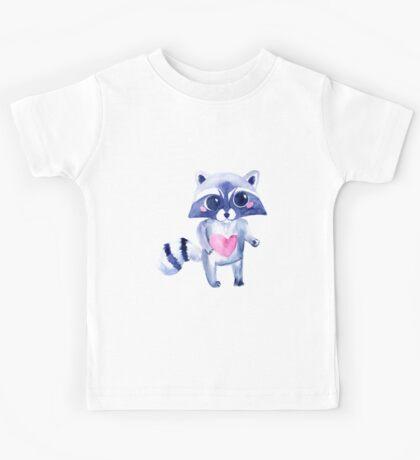 Cute raccoon animal. Watercolor Kids Tee