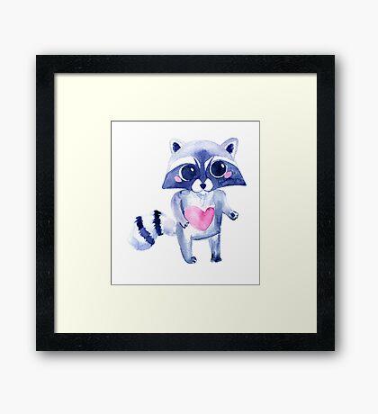 Cute raccoon animal. Watercolor Framed Print