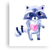 Cute raccoon animal. Watercolor Canvas Print