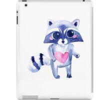 Cute raccoon animal. Watercolor iPad Case/Skin