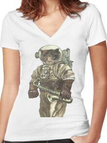Space Cat with Saxophone Women's Fitted V-Neck T-Shirt