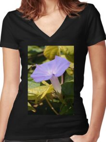 Purple Morning Glory Women's Fitted V-Neck T-Shirt