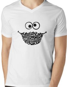 Cookie Monster Typography  Mens V-Neck T-Shirt