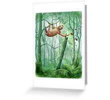Sweet Sloth and Butterflies Greeting Card