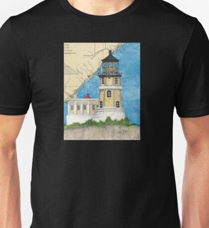 Split Rock Lighthouse MN Nautical Map Cathy Peek Unisex T-Shirt