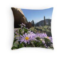 Mountain Flowers and Bikes Throw Pillow