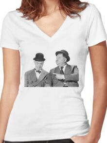 Laurel and Hardy Women's Fitted V-Neck T-Shirt