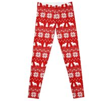French Bulldog Silhouettes Christmas Sweater Pattern Leggings