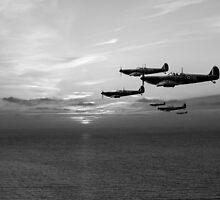 Sunset sentinels: Spitfires over the English Channel black and white version by Gary Eason + Flight Artworks