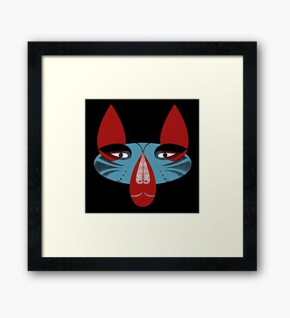 Coyote the Trickster in red, black and white Framed Print