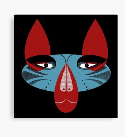 Coyote the Trickster in red, black and white Canvas Print