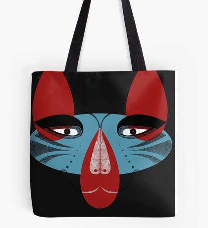 Coyote the Trickster in red, black and white Tote Bag