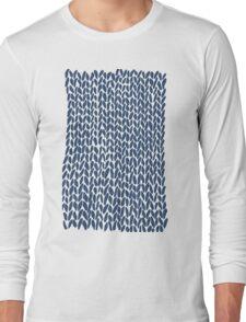 Hand Knit Navy Long Sleeve T-Shirt