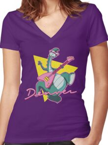 The Last Dinosaur Women's Fitted V-Neck T-Shirt