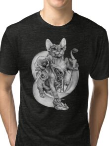 RISHAMA steampunk tattoo cat kitten biomechanics mechanics vintage Tri-blend T-Shirt