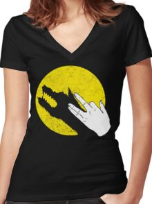 Hand of the Werewolf Women's Fitted V-Neck T-Shirt