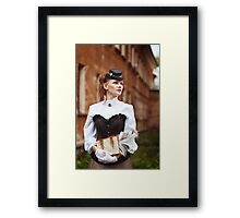 Beautiful redhair woman in vintage clothes Framed Print