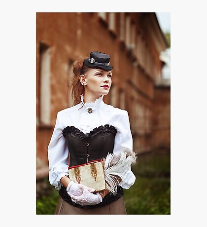 Beautiful redhair woman in vintage clothes Photographic Print