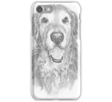 Golden retriever with wavy hair drawing iPhone Case/Skin