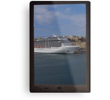 Cruise Ship, The Grand Harbour, Valletta Metal Print