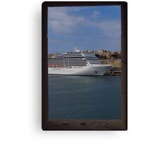 Cruise Ship, The Grand Harbour, Valletta Canvas Print