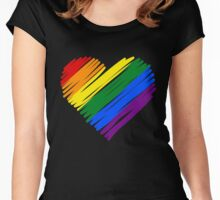 LGBT Rainbow Heart Women's Fitted Scoop T-Shirt