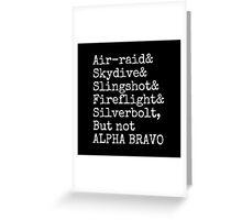 Aerialbots ampersand list alpha bravo Greeting Card