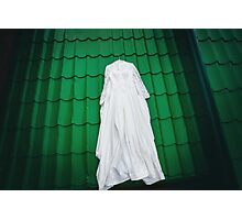 White wedding dress ready for bride Photographic Print