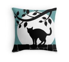 Cat on a Wall Silhouette Throw Pillow