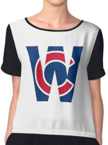 Cubs W Chicago Cubs W with Red/Blue C Chiffon Top