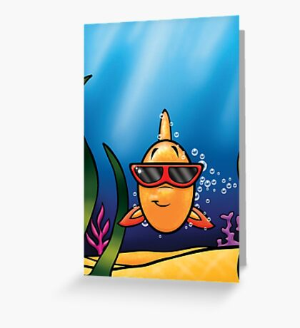 HeinyR- Goldfish with Sunglasses Greeting Card
