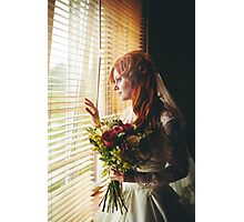 Beautiful red hair bride with flower bouqu Photographic Print
