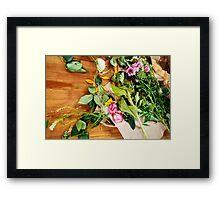 Fresh flowers on wooden table Framed Print