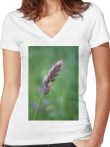 Purple up close Women's Fitted V-Neck T-Shirt
